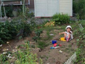 畑で砂場遊び